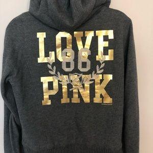 VS PINK Fur Lined Metallic Zip Hoodie